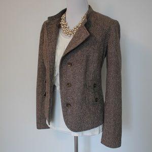 EDDIE BAUER Size 12 Brown Tweed Jacket Blazer